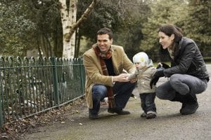 Baby with plagiocephaly helmet